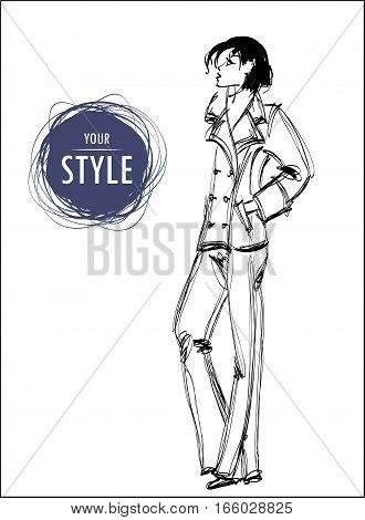 Sketch. Vector illustration of a pretty girl on a abstract background. Fashion illustration.