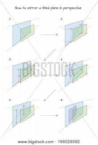 Infographic for designers How to mirror a tilted plane in perspective isolated on white