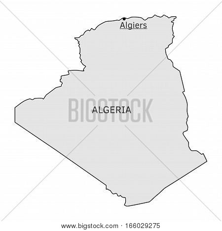 Algeria silhouette map with Algiers capital isolated on white