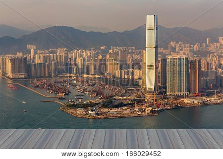 Opening wooden floor Hong Kong city central business downtown aerial view