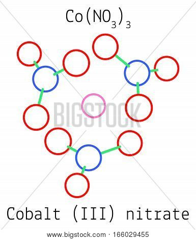 Cobalt III nitrate CoN3O9 molecule isolated on white