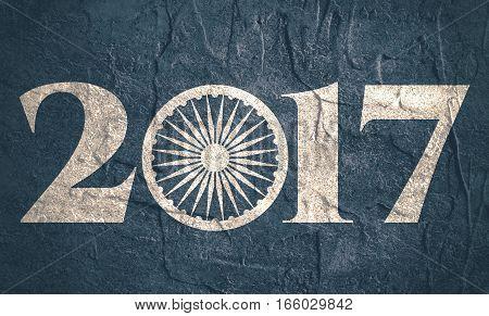 Ashoka Chakra symbol build in 2017 year number. Modern brochure, report or flyer design template. Grunge texture