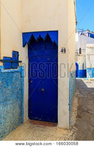 Entrance Of  A House In The Small Streets In Blue And White In The Kasbah Of The Old City Rabat In M