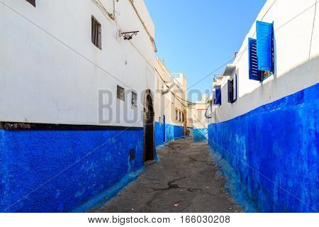 Small Streets In Blue And White In The Kasbah Of The Old City Rabat In Marocco