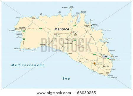 Vector Street map of the Spanish Balearic island of Menorca