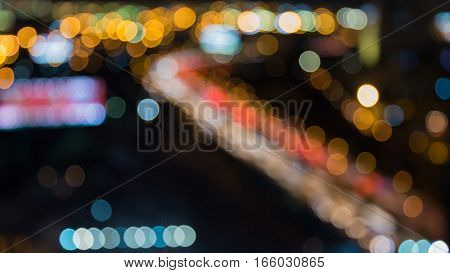 Blurred bokeh lights city road night view abstract background