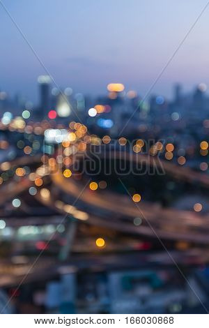 Aerial view blurred lights city road downtown abstract background