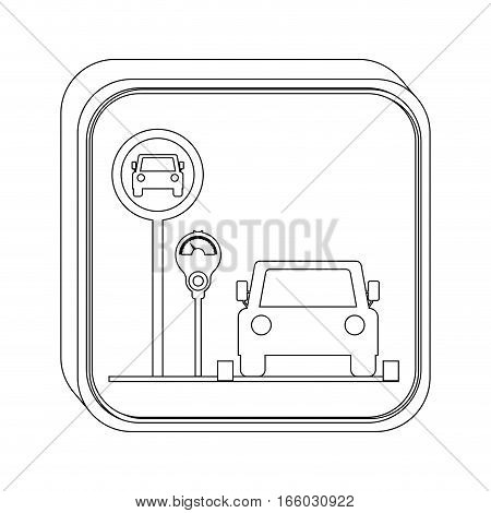 silhouette button parking area for vehicles with parking meter vector illustration