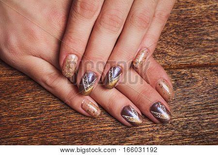 Gold Nail Art With Tinsels