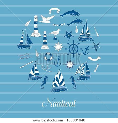 Nautical background with ships and wheel, seahorse, sailing boats,  dolphin and sea knots. Hand drawn elements for summer holidays.Travel, marin and ocean. Vector Illustration