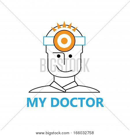 Vector sign doctor with headlamp, isolated illustration on white