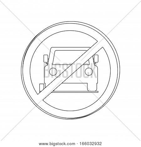 silhouette circular contour road sign prohibited parking area for cars vector illustration