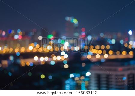 City blurred light night view abstract background