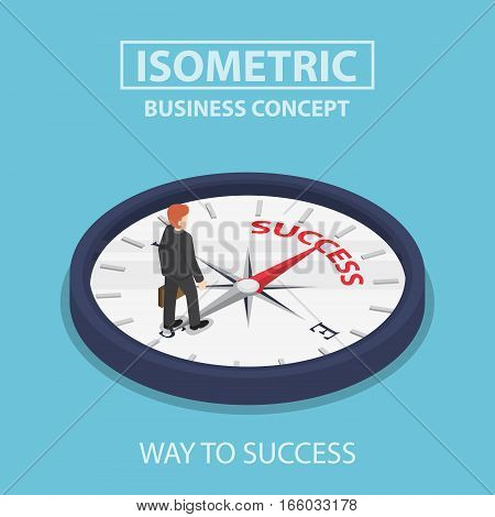 Isometric Businessman Standing On Compass That Points To Success