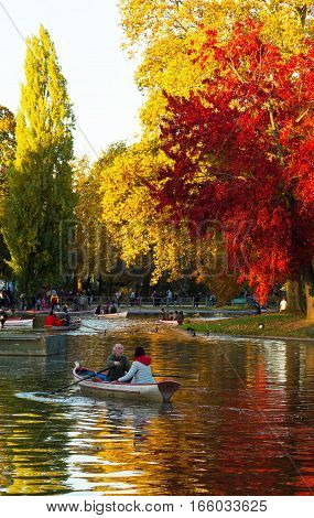Paris France-October 30 2016-The Daumesnil lake is the largest lake in bois de Vincennes and poular destination for walks and rowboat excursions.