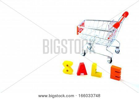 Sale Alphabet With Red Cart For Shopping Concept