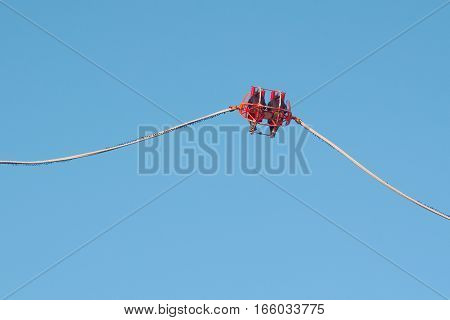 Theme Park Catapult Slingshot with Clear Blue Sky
