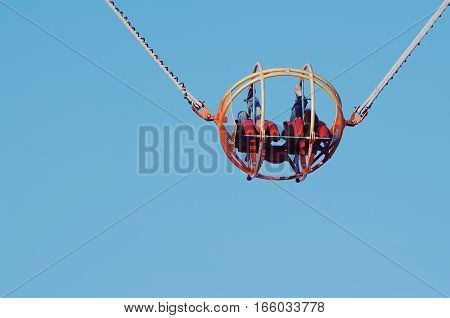 Theme Park Catapult Slingshot Cage Closeup with Clear Blue Sky