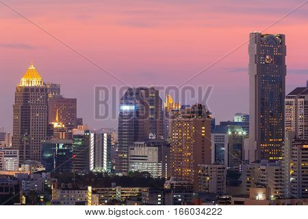 City office building with beauty sky background during twilight Bangkok Thailand