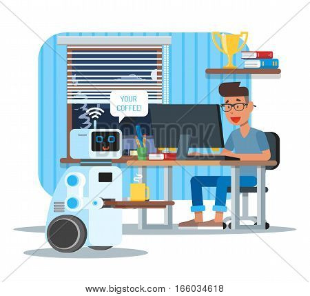 Domestic personal assistance robot brings coffee to his owner at home. Robotics technology concept vector illustration.