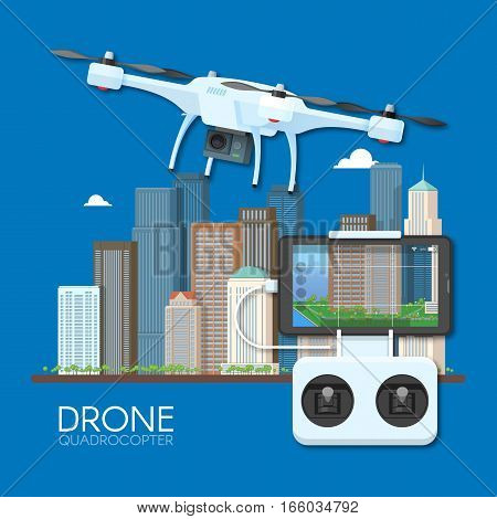 Drone with remote control flying over city. Aerial drone with camera taking photography and video concept vector illustration.