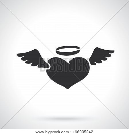 Vector illustration. Valentine's Day symbol. Silhouette of angel heart with wings and a halo. Template or pattern. Decoration for greeting cards, wallpapers, emblems