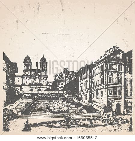 Hand-drawn illustration of Rome. Spanish Steps. Italy. Vector