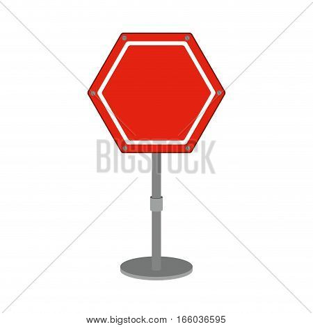 hexagon road sign red icon vector illustration