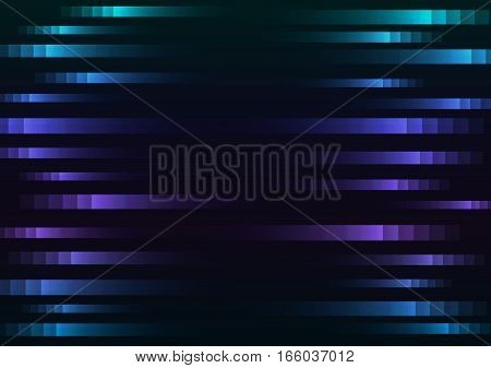 abstract pixel speed background, square layer line motion technology geometric background, vector illustration, cool tone with black background