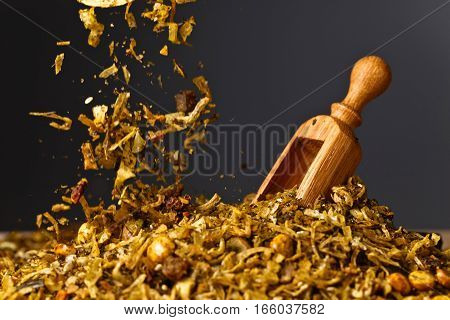 Wooden Spoon With Mixture Of Different  Spices