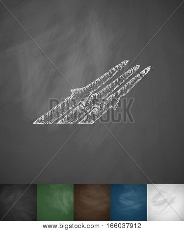 missiles icon. Hand drawn vector illustration. Chalkboard Design