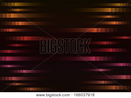 abstract pixel speed background, square layer line motion technology geometric background, vector illustration, warm tone with black background