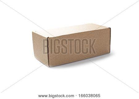 closed rectangular cardboard box on isolated white background