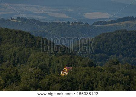 Mountain forest at Central Balkan mountain, pass Beklemeto, Stara Planiana, Bulgaria