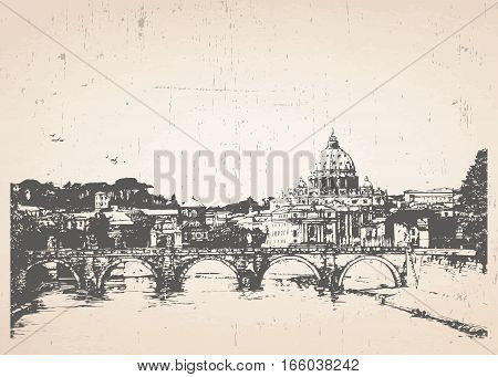 Hand drawn illustration of Rome. Italy. Vector