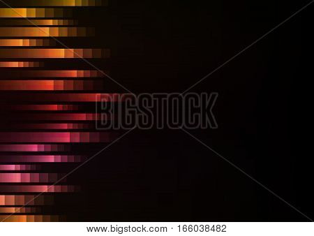abstract pixel speed from side background, square layer line racer motion technology geometric background, vector illustration, warm tone with black background