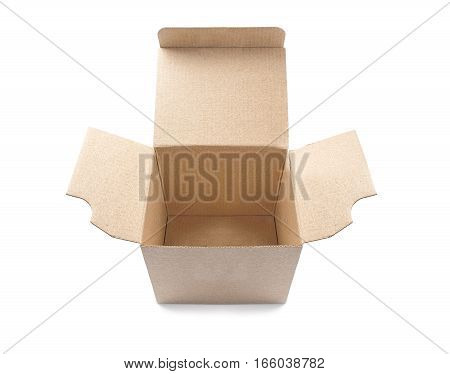 open cardboard box on isolated white background with shadow