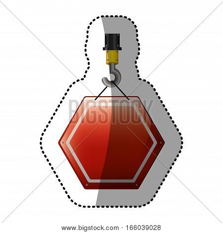dotted sticker crane hook with hexagon of road sign red vector illustration