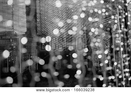 Beautiful Bokeh Background For Design. Christmas Decoration Outdoors