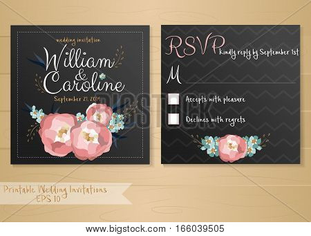 Vector illustration of wedding invitation card with flowers elements and calligraphic letters.