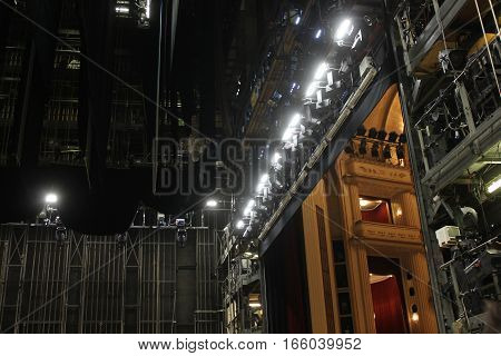 VIENNA, AUSTRIA - JANUARY 2 2016: Backstage of Vienna Opera house with the lighting set