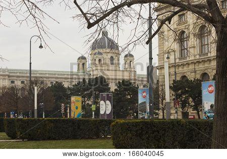 VIENNA, AUSTRIA - JANUARY 3 2016: Museum quartier buildings in Vienna winter season nobody around