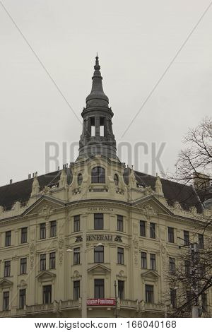 VIENNA, AUSTRIA - JANUARY 3 2016: Roof and turret of