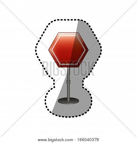 dotted sticker hexagon road sign red icon . Vector illustration