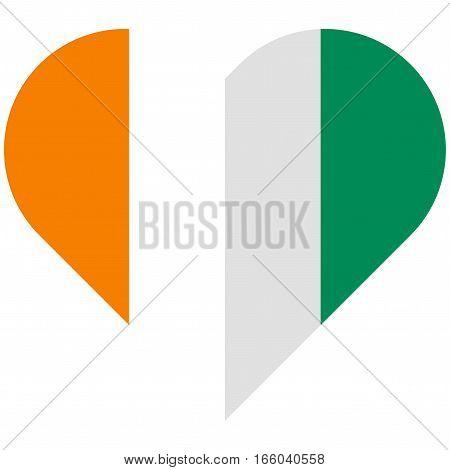 C Te D Ivoire Flat Heart Flag