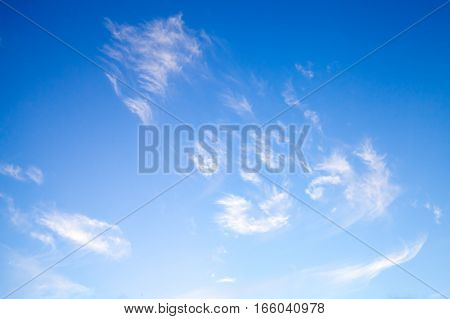 White Clouds In Deep Blue Sky, Natural Photo