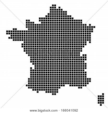 The Map Of France. Silhouette of France is made up of square dots. Original abstract vector illustration.