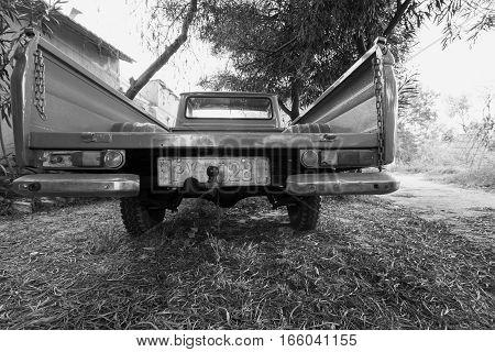 Rear View Of Old Datsun 1300 Pickup Car