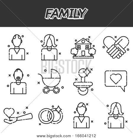 Family icons set with married couples parents and children isolated vector illustration