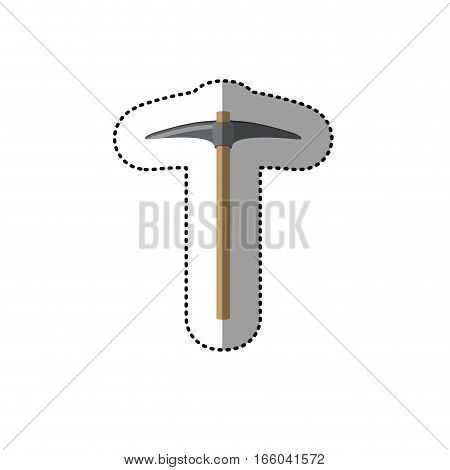 dotted sticker pickaxe construction tool vector illustration